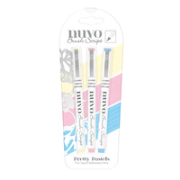 Nuvo Brush Script Pens Pretty Pastels 3pk