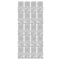 ARTDECO SILVER STICKERS SQUARE FLOWERS / LEAVES