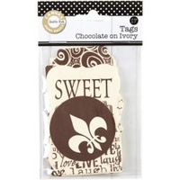 PRINTED TAGS CHOCOLATE / IVORY
