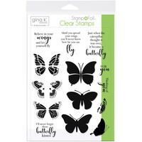 Thermoweb Foil-Mates Clear Stamp Butterfly Kisses by Gina K