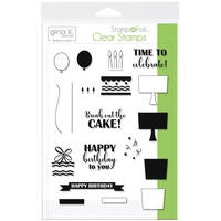 Thermoweb Foil-Mates Clear Stamps Time to Celebrate by Gina K