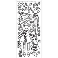Elizabeth Craft Designs Outline Stickers Black Jacky's Dolls 1