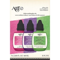 Art-C Glitter Ink 3pk Magenta, Purple & Green 3x20ml