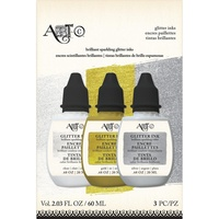 Art-C Glitter Ink 3pk Clear Gold & Silver 3x20ml