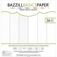 "Bazzill Basics Cardstock Pad 12x12"" Whites 36pg"