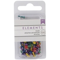 "American Crafts Brads Elements Mini Primary .125"" 100pc"