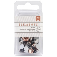 "American Crafts Brads Elements Metallic .1875"" 50pc"