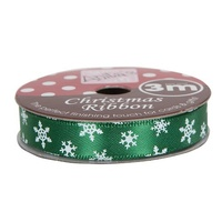 Anita's Christmas Ribbon 3mt Green Snowflake