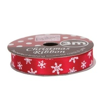 Anita's Christmas Ribbon 3mt Red Snowflake
