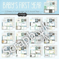 Scrapbook Customs Paper Pack Baby Boy First Months Kit 13pc