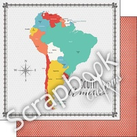 Scrapbook Customs Paper South America Memories Map DS