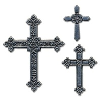 EMBELLISHMENT : CROSSES METAL STICKER