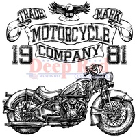 Deep Red Stamp Motorcycle Logo