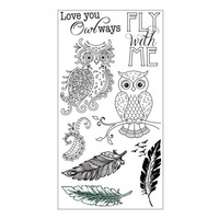 Sizzix Clear Stamp Owl & Feathers by Jen Long