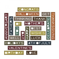 Sizzix Thilits Die Sentiment Words, Thin 23pk by Tim Holtz