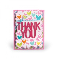 Sizzix Framelits Die Drop-Ins Thank You Card 4pc by Stephanie Barnard