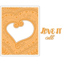 Sizzix Impresslits Embossing Folder Bohemian Heart by Courtney Chilson
