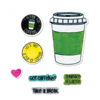 Sizzix Framelits Die & Stamp Set Coffee 7pc by Stephanie Barnard