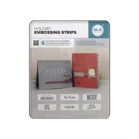 "We R Memory Keepers Embossing Folder Phrase Strips 6x2"" 6pk Holiday"