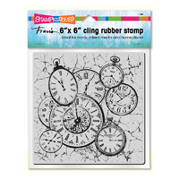 Stampendous Cling Stamp Clock Collage
