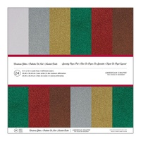 "American Crafts Glitter Cardstock Pack 12x12"" 24pg Christmas"