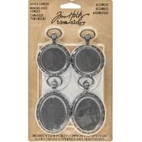 "Tim Holtz Idea-Ology Metal Watch Cameos 4pk 1.25x2"" & 1.5x2.5"""
