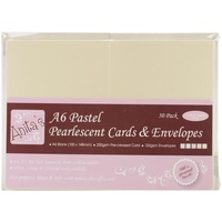 Anita's Pearlescent Cards with Envelopes A6 Pastel 50pk