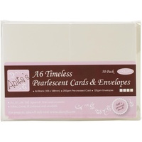 Anita's Pearlescent Cards with Envelopes A6 TImeless Ivory & Ecru 50pk