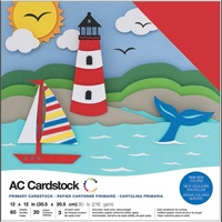 "American Crafts 12x12"" Cardstock Pack Primaries 60pg"