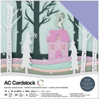 "American Crafts 12x12"" Cardstock Pack Winter 60pg"