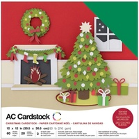 "American Crafts 12x12"" Cardstock Pack Christmas 60pg"