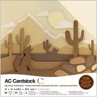 "American Crafts 12x12"" Cardstock Pack Neutrals 60pg"