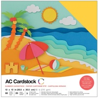 "American Crafts 12x12"" Cardstock Pack Summer 60pg"