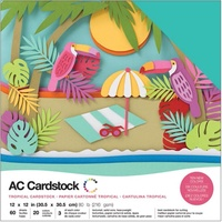 "American Crafts 12x12"" Cardstock Pack Tropical 60pg"