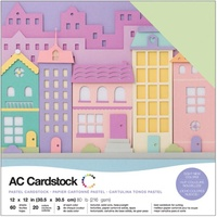 "American Crafts 12x12"" Cardstock Pack Pastels 60pg"