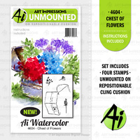 Art Impressions Stamp Watercolours Chest of Flowers