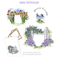 Art Impressions Stamp Mini Tryfolds Hello Friend Set Includes Die