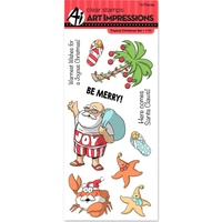 Art Impressions Cling Rubber Stamp Set Tropical Christmas