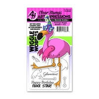Art Impressions Wiggle Wobble Stamp & Die Set Flamingo