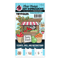 Art Impressions Mini Tryfolds Stamp & Die Set Produce Stand