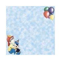Print Blocks Paper Boy and Ballons On Blue Clouds