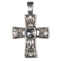 Silver Decorated Cross Accent