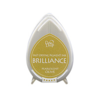 Tsukineko Brilliance Dew Drop Pigment Ink Pad Pearlescent Olive