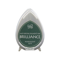 Tsukineko Brilliance Dew Drop Pigment Ink Pad Pearlescent Ivy