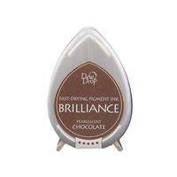 Tsukineko Brilliance Dew Drop Pigment Ink Pad Pearlescent Chocolate