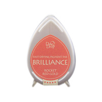 Tsukineko Brilliance Dew Drop Pigment Ink Pad Rocket Red Gold