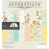 "Authentique 6x6"" Double Sided Cardstock Paper Pad Beginnings 24pg"