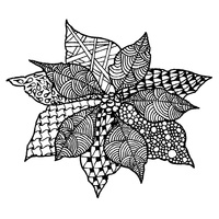 Magenta Cling Stamp Zentangle Poinsettia