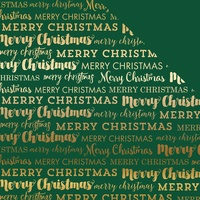"Carta Bella 12x12"" Double Sided Foil Cardstock Merry Christmas Green with Gold"