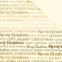 "Carta Bella 12x12"" Double Sided Foil Cardstock Merry Christmas Cream with Gold"